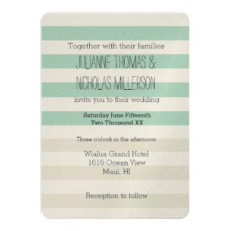 Mint Pale Cream Stripes Wedding Card