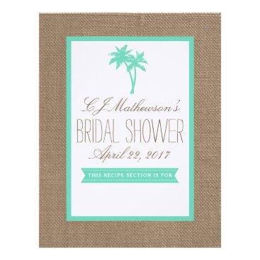 Beach Themed Mint Palm Tree Beach Bridal Shower Recipe Divider Letterhead