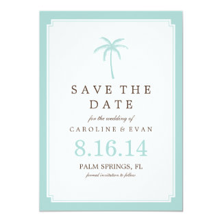 Mint Palm Tree Wedding Save the Date Card