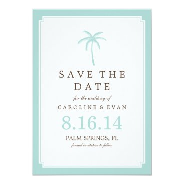 heartlocked Mint Palm Tree Wedding Save the Date Card