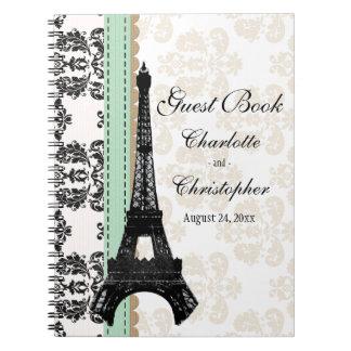 Mint Parisian Eiffel Tower Wedding Guest Book Spiral Note Books