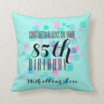 """Mint Pastel Colors 85th Birthday Custom Pillow 3<br><div class=""""desc"""">85th Birthday Pillow with customizable black lettering on abstract design of small squares and aqua color background (customizable). Other models inpink and purple available. Matching birthday guest book.</div>"""