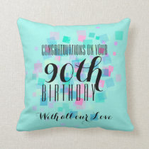 Mint Pastel Colors 90th Birthday Custom Pillow 3