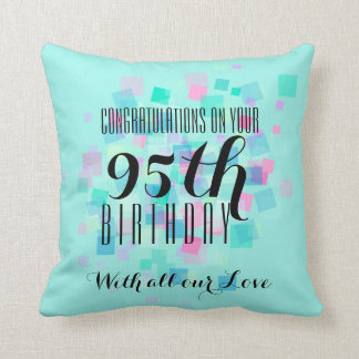 Mint Pastel Colors 95th Birthday Custom Pillow 3