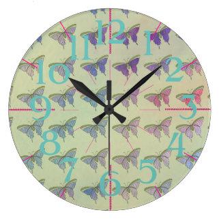 Mint Pastel Lilac CricketDiane Butterflies Clock
