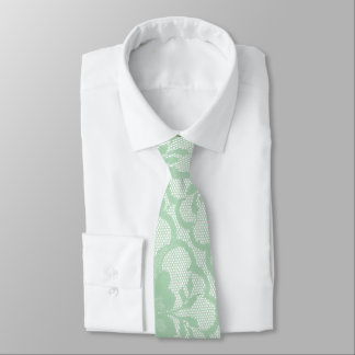 Mint Pastel White Lace Greenery Meadow Neck Tie