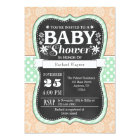 Mint Peach Chalkboard Floral Baby Shower Invite