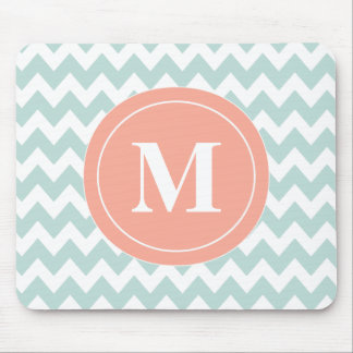 Mint Peach Chevron Personalized Mousepad