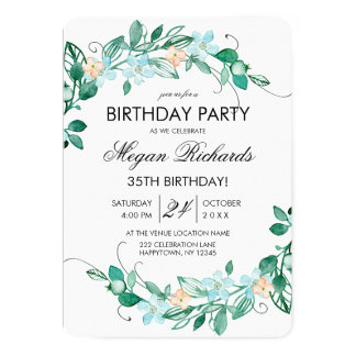 Mint Peach Floral Wreath Birthday Party Invitation