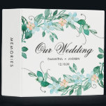 """Mint Peach Floral Wreath Chic Wedding Photo Album 3 Ring Binder<br><div class=""""desc"""">Mint &amp; Peach Floral Wreath Chic Watercolor Flowers Design. Wedding Photo Album With trendy Hand Lettered Script font! ~ Check my shop to see the entire wedding collection with this design!</div>"""