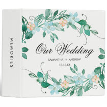 Mint Peach Floral Wreath Chic Wedding Photo Album 3 Ring Binder