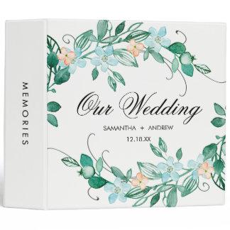 Mint Peach Floral Wreath Chic Wedding Photo Album 3 Ring Binder