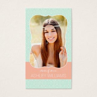 Mint Peach Greek Key Senior Rep Marketing Business Card