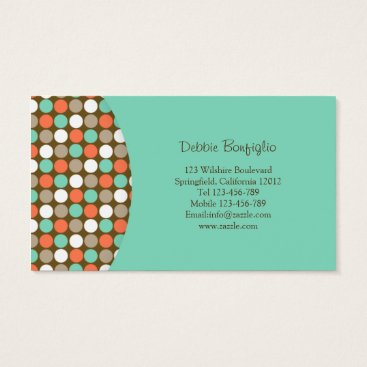 Professional Business Mint & Peach Polkadots Modern Business Card