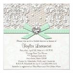 Mint Pearl Lace Diamond Bridal Shower Invitation