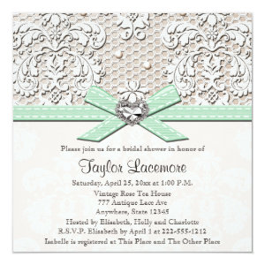 Mint Pearl Lace Diamond Bridal Shower Invitation 5.25