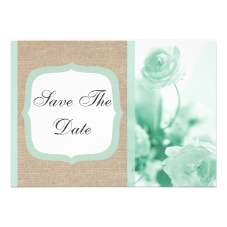 Mint Peony Burlap Save The Date Announcement