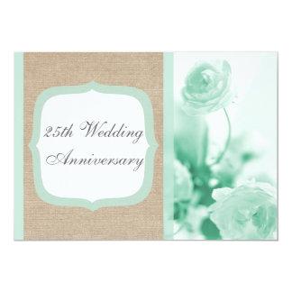 Mint Peony Burlap Wedding Anniversary Invitation
