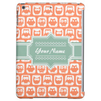 Mint Personalized Name Orange Owls Case For iPad Air