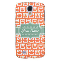 Mint Personalized Name Orange Owls Galaxy S4 Cover
