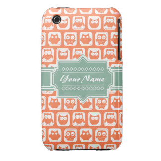 Mint Personalized Name Orange Owls iPhone 3 Cover