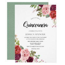 Mint & Pink Blush Floral Quinceanera Invitation