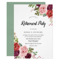 Mint & Pink Blush Floral Retirement Party Invite