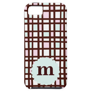 Mint Pink Brown Check Plaid Scallop Monogram Case iPhone 5 Cases