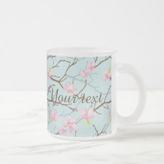 mint,pink,cherry blossom, girly,trendy,beautiful, 10 oz frosted glass coffee mug