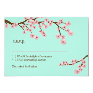 "Mint & Pink Cherry Blossom RSVP w/ envelopes 3.5"" X 5"" Invitation Card"