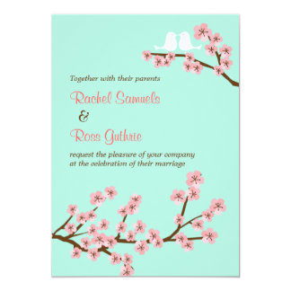 Mint & Pink Cherry Blossom (Vertical) Wedding 5x7 Paper Invitation Card