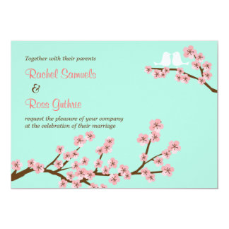Mint & Pink Cherry Blossom Wedding Card