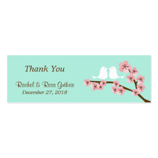 Mint & Pink Cherry Blossom Wedding Favor Tags Mini Business Card