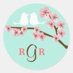Mint & Pink Cherry Blossom Wedding Round Stickers