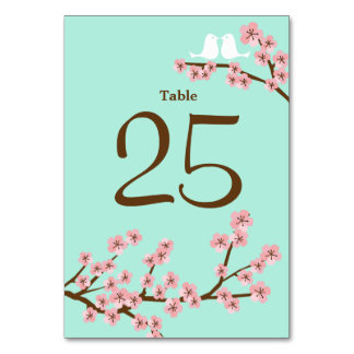 Mint & Pink Cherry Blossom Wedding Table Number Po Card