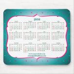 Mint, pink color dots Pattern Calendar 2016 Mouse Pad