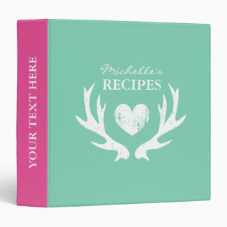 Mint pink deer antler kitchen recipe binder book