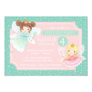 Mint Pink Fairy Princess Birthday Party Invitation