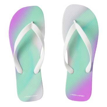 Beach Themed mint pink flip flops