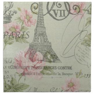 mint pink floral botanical paris eiffel tower napkin