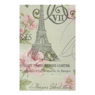 mint pink floral botanical paris eiffel tower stationery