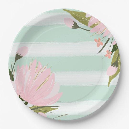 Mint Pink Gold Floral Baby Shower Paper Plates  sc 1 st  Zazzle & Mint Pink Gold Floral Baby Shower Paper Plates | Zazzle.com
