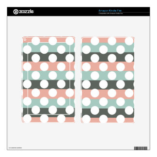 Mint Pink Gray White Modern Polka Dot Pattern Kindle Fire Decals