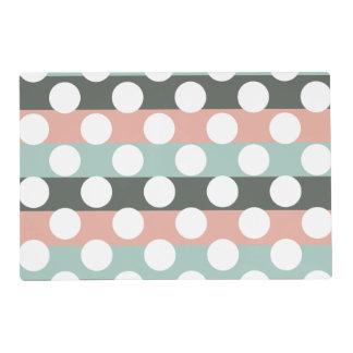 Mint Pink Gray White Modern Polka Dot Pattern Placemat