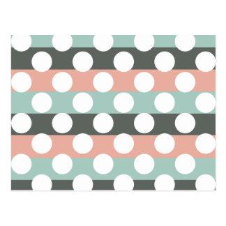 Mint Pink Gray White Modern Polka Dot Pattern Postcard