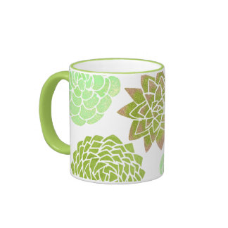 Mint Pink Green Natural Succulent Design Mug