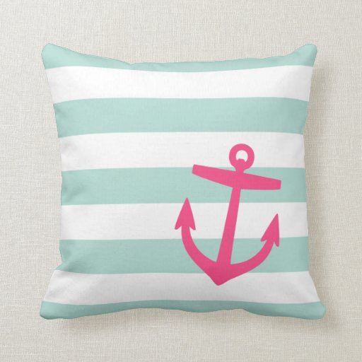 Cute Aqua Throw Pillows : Mint & Pink Nautical Stripes and Cute Anchor Pillow Zazzle