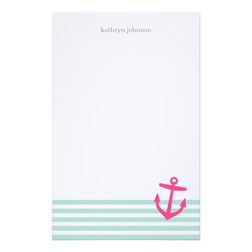 Mint & Pink Nautical Stripes and Cute Anchor Stationery