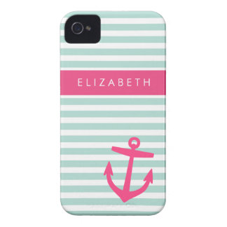 Mint & Pink Nautical Stripes Cute Anchor Monogram iPhone 4 Case-Mate Cases