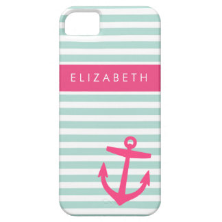 Mint & Pink Nautical Stripes Cute Anchor Monogram iPhone SE/5/5s Case